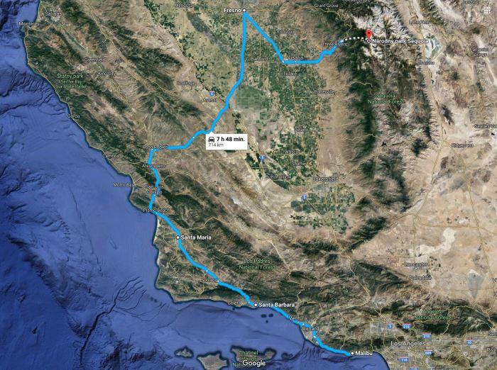 USA Road trip mapa